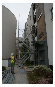 scaffolders erecting a stairtower from Cuplok compatible scaffolding